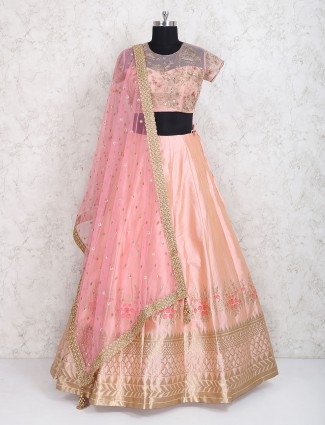 Baby pink raw silk wedding occasion lehenga choli