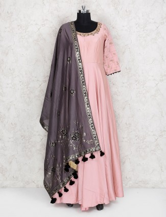 Baby pink simple pakistani anarkali suit for party