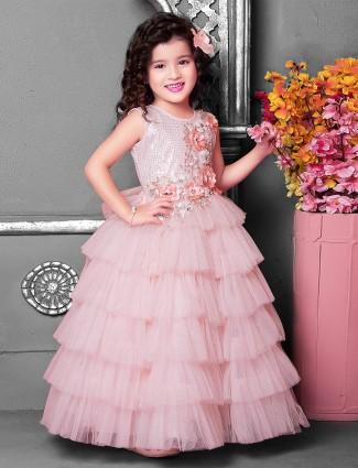 Baby pink u neck designer gown