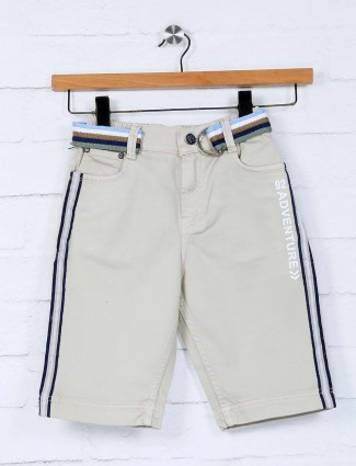 Bad Boys beige solid cotton slim fit short