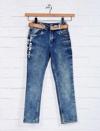 Bad Boys solid blue elasticated fit jeans