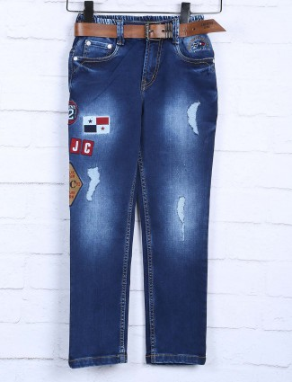 Badboys ripped royal blue colored jeans