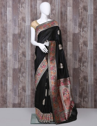 Baluchari pure banarasi silk black saree