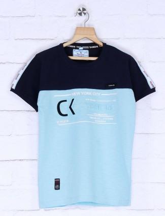 Bambini aqua hued printed casual t-shirt
