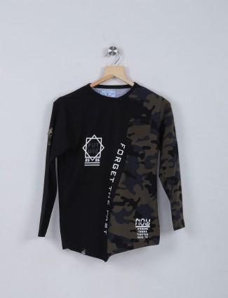 Bambini black casual slim fit t-shirt