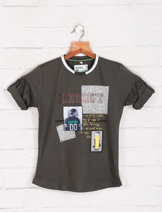 Bambini boys grey printed t-shirt