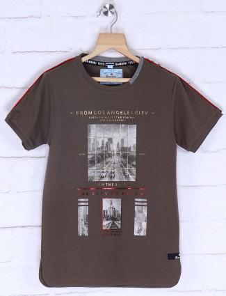 Bambini brown simple printed t-shirt