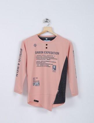 Bambini dusty pink printed cotton t-shirt