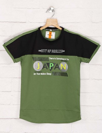 Bambini green cotto printed t-shirt