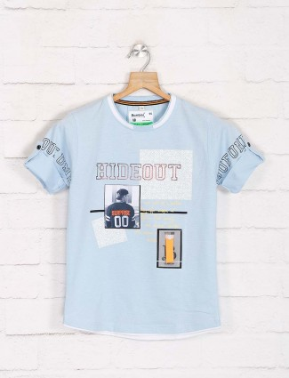 Bambini half sleeves light blue printed t-shirt
