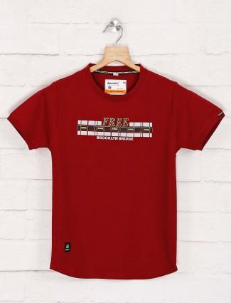 Bambini maroon printed casual t-shirt
