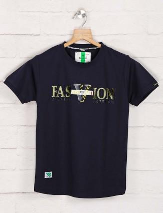 Bambini navy cotton printed t-shirt