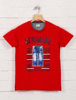 Bambini printed red half sleeves t-shirt