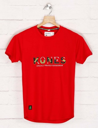 Bambini red printed casual wear t-shirt
