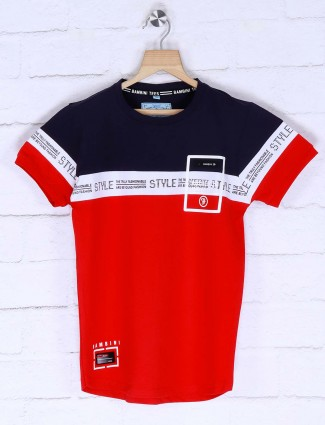 Bambini red solid casual wear t-shirt