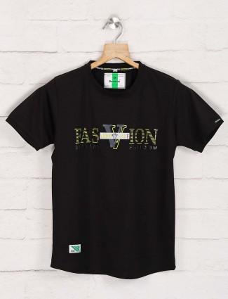 Bambini slim fit black printed t-shirt
