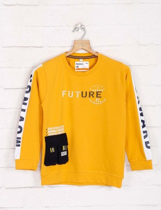 Bambini yellow printed cotton sweatshirt