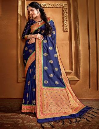 Banarasi blue silk saree for festive wear