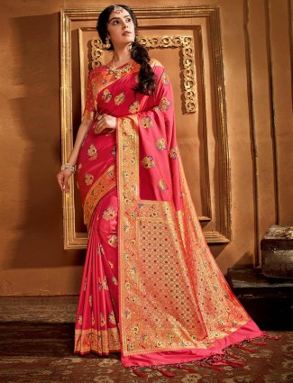 Banarasi pink silk saree for wedding days