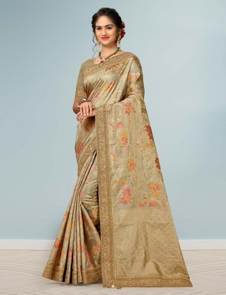 Banarasi silk beige saree for pretty womens