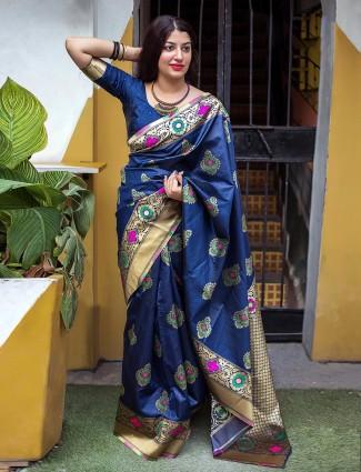 Banarasi silk blue color saree
