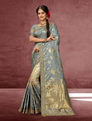 Banarasi silk in grey lovely saree
