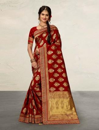 Banarasi silk maroon classic saree