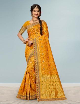 Banarasi silk mustard yellow sari