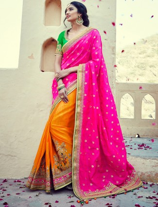 Banarasi silk orange and magenta half and half saree