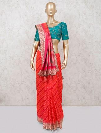 Banarasi silk red wedding wear saree