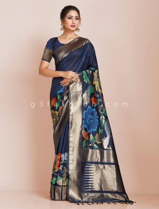 Banarasi silk saree design in navy blue