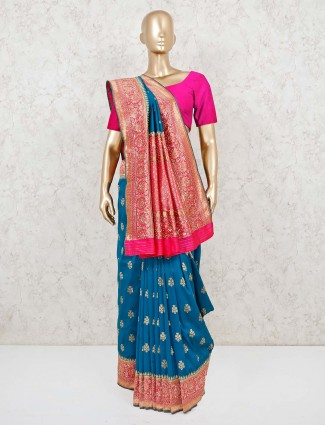 Banarasi silk saree for wedding in blue