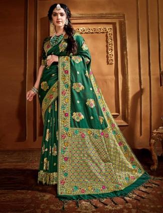 Banarasi silk saree in green for wedding days