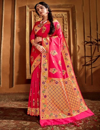 Banarasi silk saree in pink for wedding