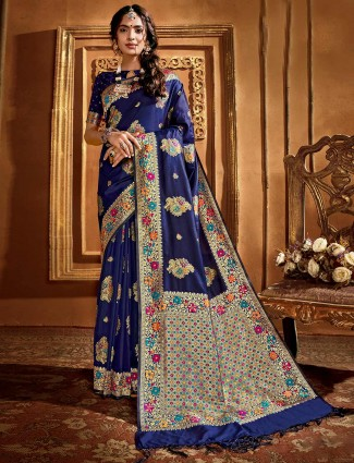 Banarasi silk saree in royal blue for wedding function