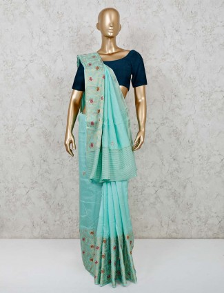 Banarasi silk sea green saree for festive wear