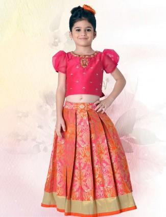 Banarasi silk wedding lehenga choli in magenta