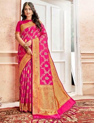 Banarasi silk wedding saree in magenta
