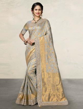 Banarasi silk wedding wear grey saree