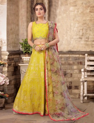 Banarasi silk wedding wear yellow lehenga choli