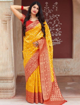 Banarasi silk yellow color saree