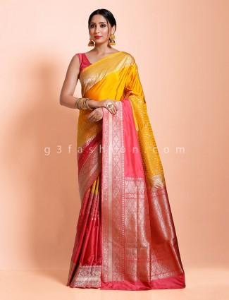 Banarasi silk yellow designer zari weaving saree