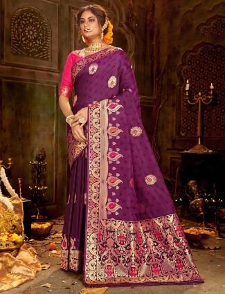 banarasi soft silk saree for weddings in purple