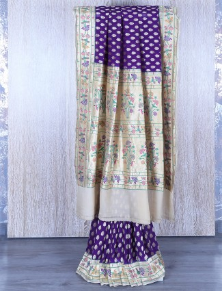 Banarsi georgette purple saree