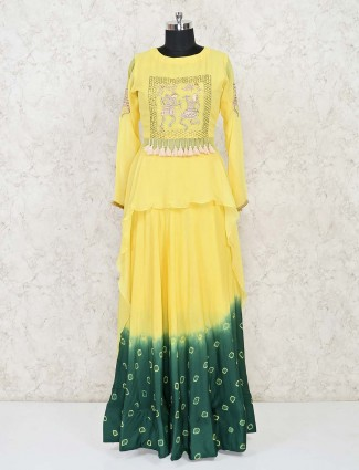 Bandhani print indo western yellow and green salwar suit for festivals