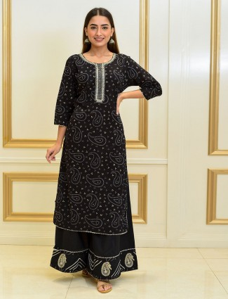 Bandhani printed cotton black sharara suit