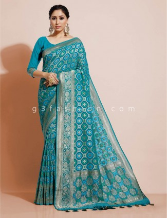 Bandhej georgette wedding designer aqua blue saree
