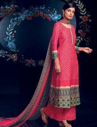 Bandhej pattern magenta dress material