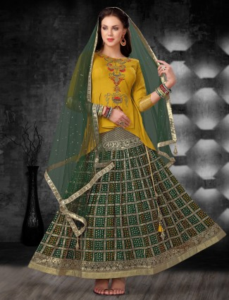 Bandhej printed green and yellow cotton silk lehenga choli