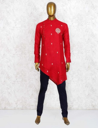 Bandhgala pattern red cotton kurta suit